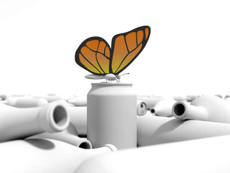 Orange butterfly on a can in a dump. 3D environment in a white background. Stock Photo - 16733934