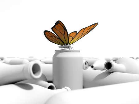residuos organicos: Orange mariposa en una lata en un basurero. Entorno 3D en un fondo blanco. Foto de archivo