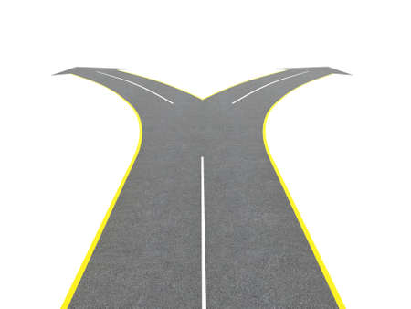 fork in the road: Render of road bifurcation on a white isolated background Stock Photo