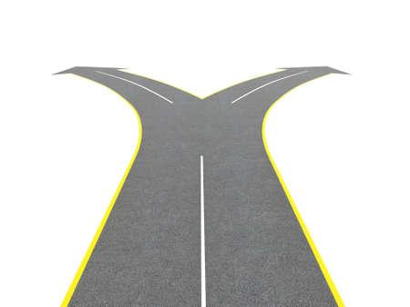 Render von Straßen Bifurkation auf einem weißen Hintergrund isoliert