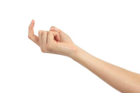 Mujer haciendo señas mano sobre un fondo blanco aislado