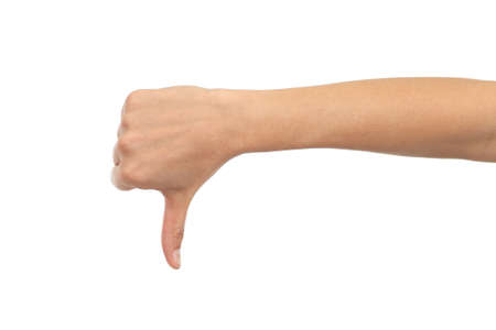 Woman hand with thumb down on a white isolated background Stock Photo - 16886255