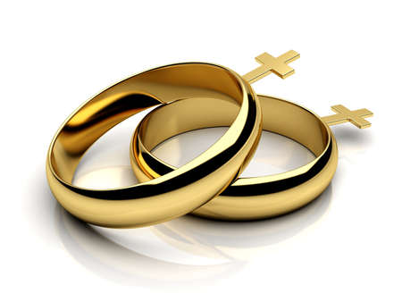 lesbienne: anneaux de mariage femelles sur un fond blanc réfléchissant isolé rendu 3D Banque d'images