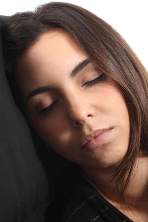 Beautiful girl sleeping portrait on a coach photo