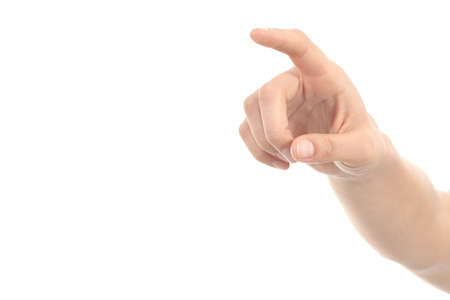 Woman hand pointing or pushing with forefinger on a white isolated background Stock Photo - 17080678