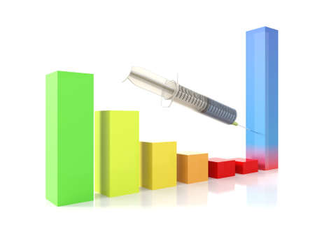 relaunch: Growth bars graph injection on a white isolated background Stock Photo