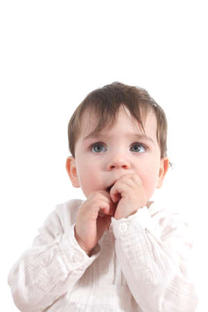 timorous: Baby scared with her hands in the mouth on a white isolated background                Stock Photo