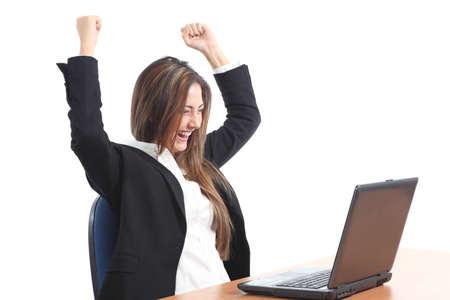 euphoric: Donna d'affari Euphoric guardando un computer portatile su uno sfondo bianco isolato