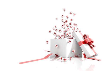Geschenkdoos emitting kleine geschenk dozen wenskaart op een witte achtergrond geà ¯ soleerd Stockfoto - 17405209