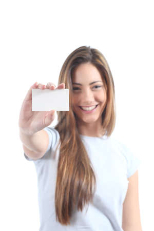 Beautiful woman showing  a blank card on a white isolated background                  photo