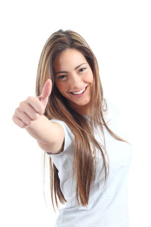 Beautiful woman with thumb up on a white isolated background