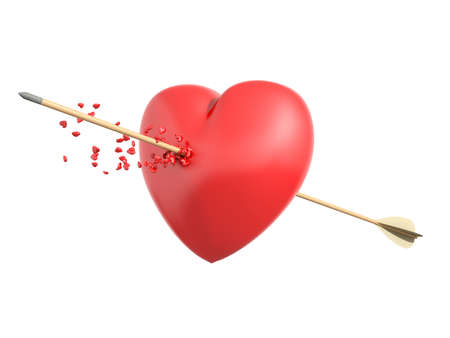 shedding: Smitten heart with a wooden arrow shedding little hearts in an isolated white background