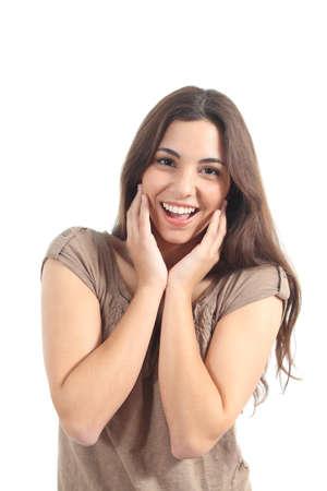 euphoric: Donna espressione Euphoric con le mani sul viso su uno sfondo bianco isolato Archivio Fotografico