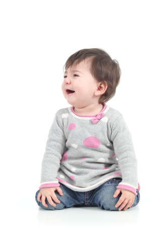 Children cry: Baby crying in tears on a white isolated background