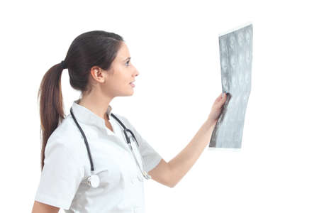 Nurse watching a magnetic resonance imaging on a white isolated background Stock Photo - 17847268