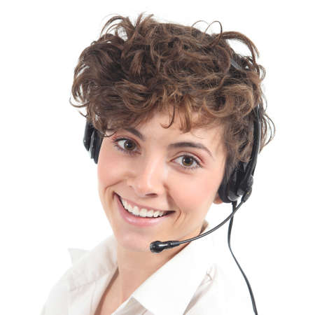 telephonist: Beautiful and happy telephonist woman in a white isolated background