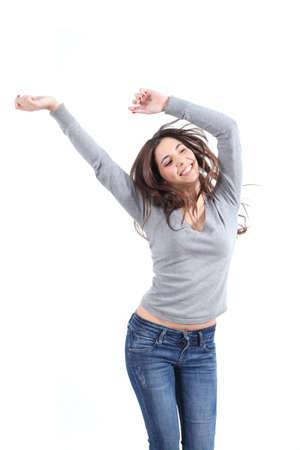 donna che balla: Bella donna ballare felice su uno sfondo bianco isolato Archivio Fotografico