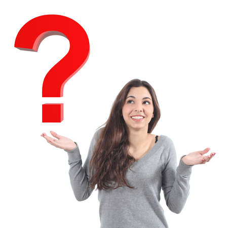 asking question: Woman with a doubt watching a 3d query on a white isolated background