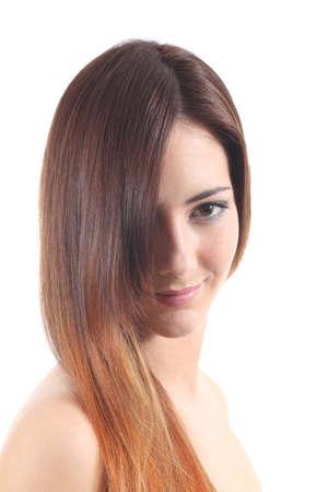 highlights: Un cabello hermoso te�ido de una mujer sobre un fondo blanco aislado