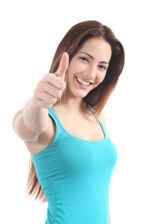 thumbs up symbol: Beautiful woman with thumb up gesture on a white isolated background Stock Photo