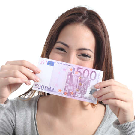Woman showing a five hundred euros banknote on a white isolated background photo