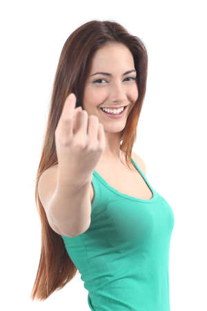 inviting: Beautiful woman making a beckoning gesture on a white isolated background