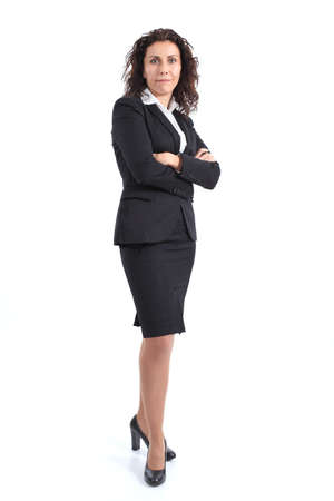 sexy mature women: Beautiful mature businesswoman smiling and standing on a white isolated background