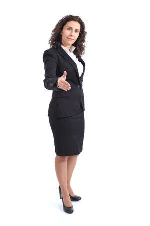 Beautiful mature businesswoman ready to handshake on a white isolated  photo