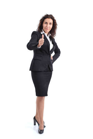 sexy mature women: Beautiful mature businesswoman with thumb up on a white isolated