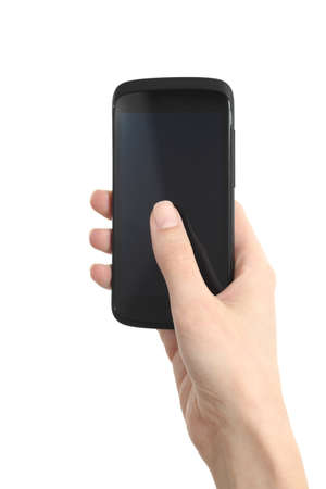 Woman hand holding and touching a mobile phone screen with her thumb on a white isolated background             photo
