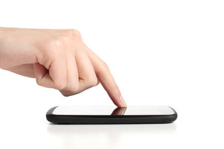 Woman hand touching a mobile phone screen with forefinger on a white isolated background Stock Photo - 18425659