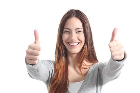 ambos: Hermosa mujer sonriente con los pulgares para arriba sobre un fondo blanco aislado Foto de archivo