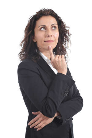 Beautiful mature businesswoman standing and pensive on a white isolated background photo