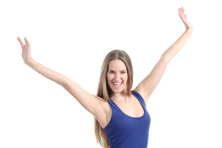 Happy beautiful girl with her arms raised isolated on a white background Stock Photo