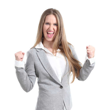 euphoric: Euphoric and young businesswoman on a white isolated background                 Stock Photo