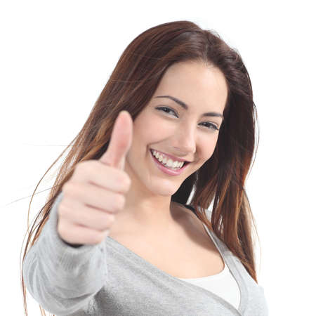 people attitude: Portrait of a beautiful teen with thumb up gesture on a white isolated background
