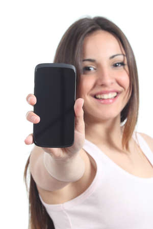 Woman showing a black mobile phone screen isolated on a white background  photo