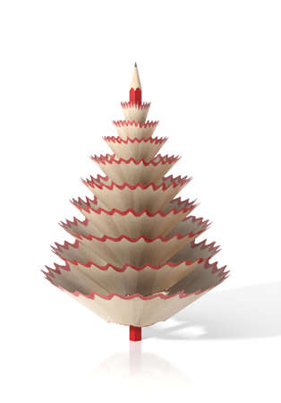 wood shavings: Render of a tree made with a pencil and its wooden shavings on a white isolated background