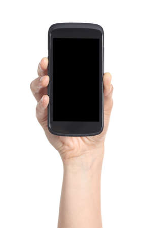 Woman hand showing a black mobile phone screen isolated on a white background             photo
