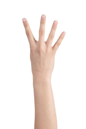 Woman hand showing four fingers on a white isolated background                photo