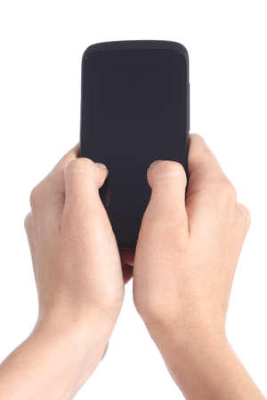 both: Woman hands holding and touching a mobile phone screen with her thumbs isolated on a white background