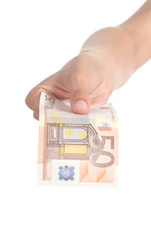 50 euro: Woman paying a fifty euros banknote isolated on a white background