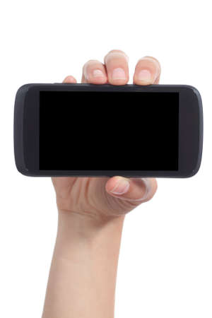 Woman hand showing a blank mobile phone screen horizontally isolated on a white background             photo