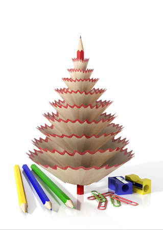 shavings: Render of office supplies and a tree made with a pencil and its wooden shavings isolated on a white background