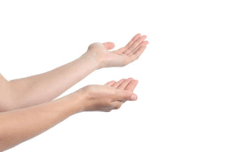 come in: Beautiful woman hands inviting to come in isolated on a white background