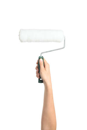Woman hand holding a paint roller isolated on a white background