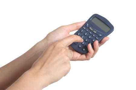 deduct: Woman hands holding and using a calculator isolated on a white background