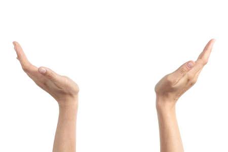 Vrouw handen met palmen omhoog houden iets geïsoleerd op een witte achtergrond