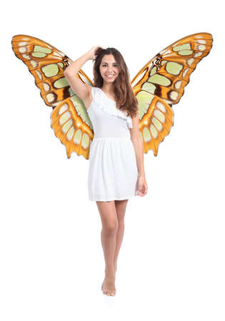 Beautiful fairy or nymph woman posing isolated on a white background              photo