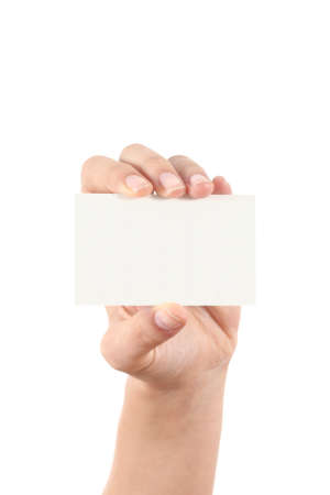 Woman hand showing a business card isolated on a white background